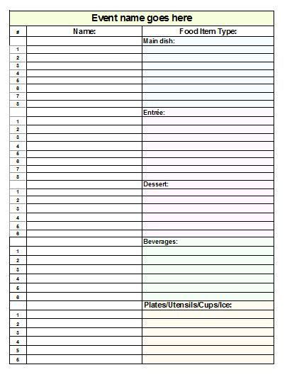 Potluck Sign Up Sheet Collection | Kiddo Shelter
