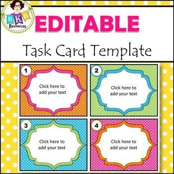 Save time with this task card template. It is already set up in ...