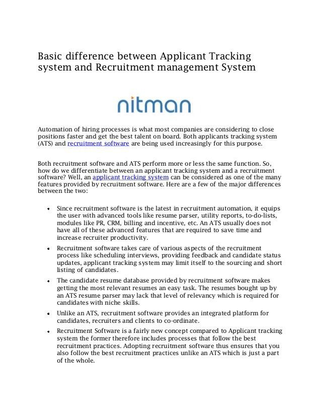 Basic difference between applicant tracking system and recruitment ma…