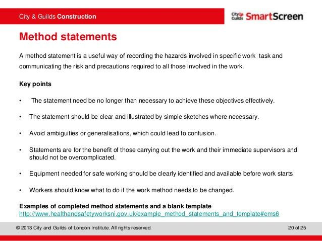 Charming 201 Health, Safety And Welfare In Construction  Method Statements Examples