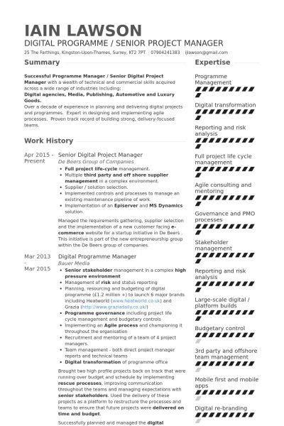 Digital Project Manager Resume samples - VisualCV resume samples ...