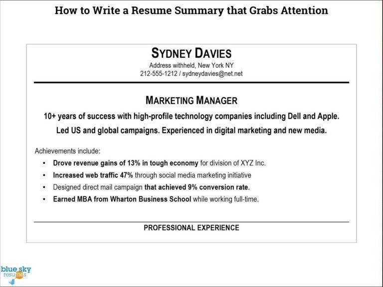 Terrific How To Write A Summary For Resume 3 How Write Resume ...