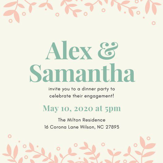 Peach Foliage Engagement Invitation - Templates by Canva