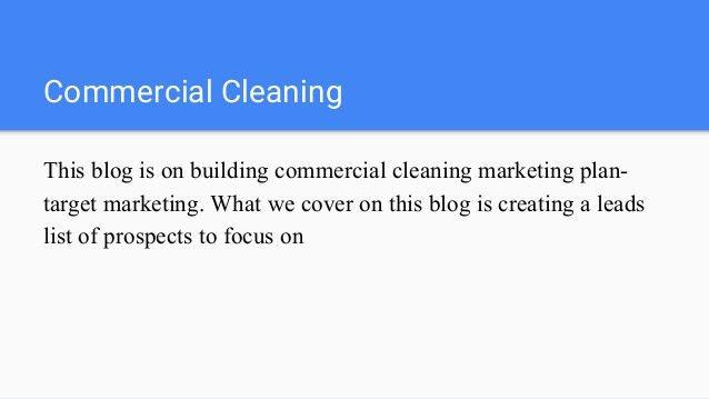 Sample Janitorial Marketing Plan, Medical Buildings
