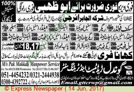 Rigger Helper Electrician & Charge Hand Jobs In Abu Dhabi ...