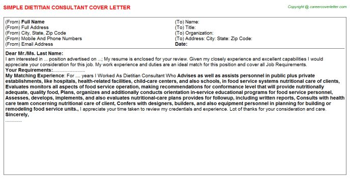 Bariatric Dietician Cover Letter] Registered Dietitian Cover .