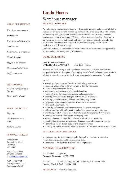 Resume Builder For Warehouse | Professional resumes sample online