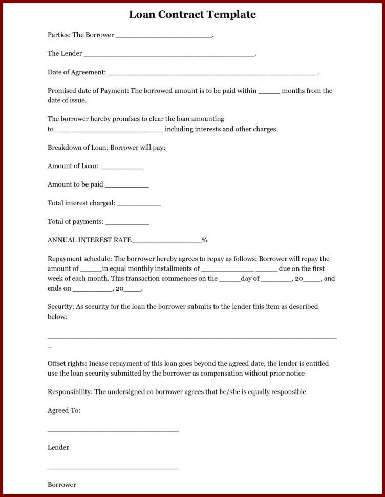 Printable Loan Agreement Template Printable Loan Agreement Car ...