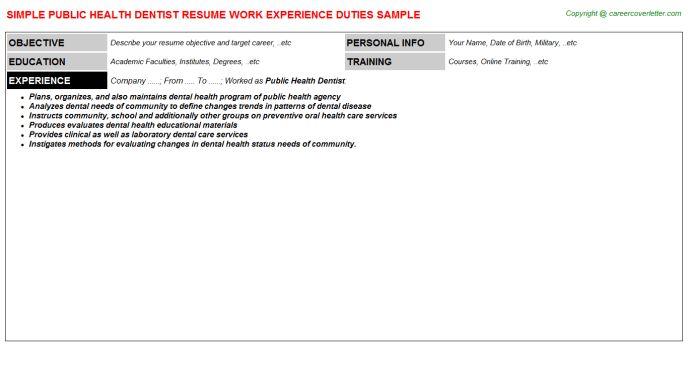 Public Health Dentist Resume Sample