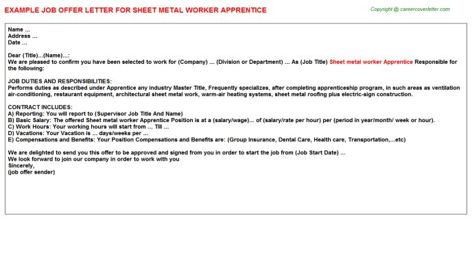 Sheet Metal Worker Apprentice Offer Letter