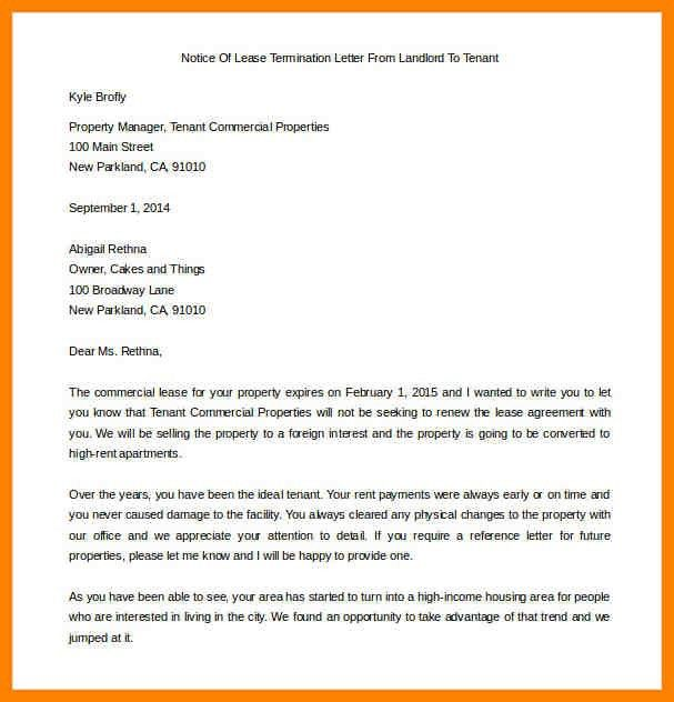9+ end of lease letter to tenant | letterhead format
