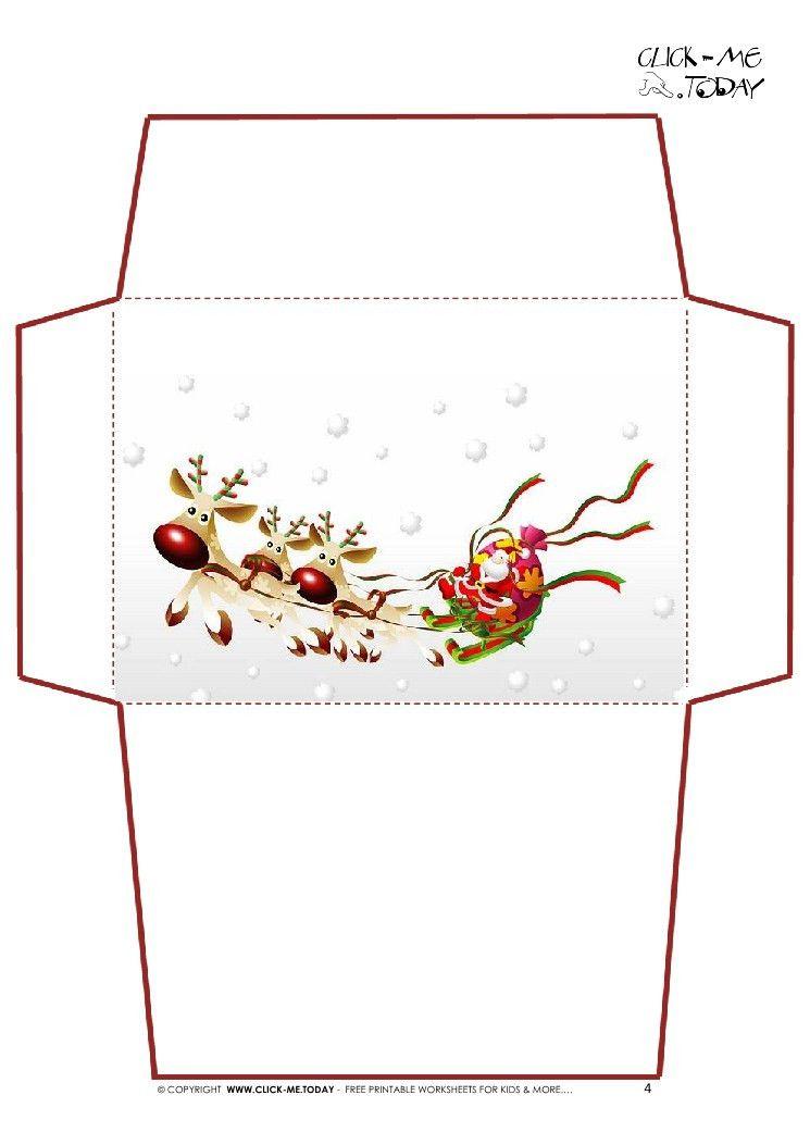 Letter to Santa Claus envelope template -Santa Sleigh-4