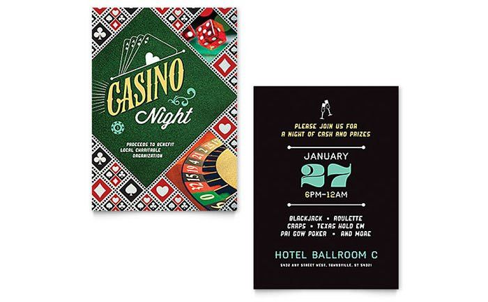 Casino Night Invitation Template - Word & Publisher