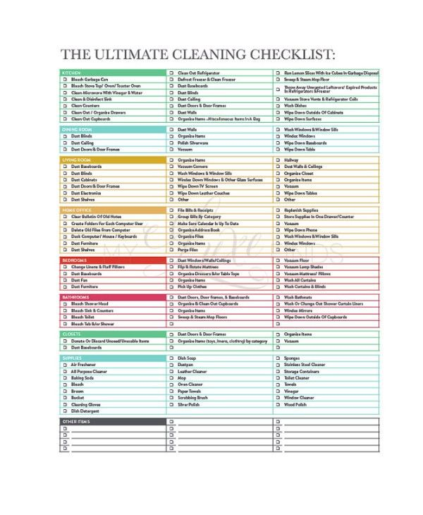 House Cleaning Checklist Template. Daily Cleaning Checklist ...