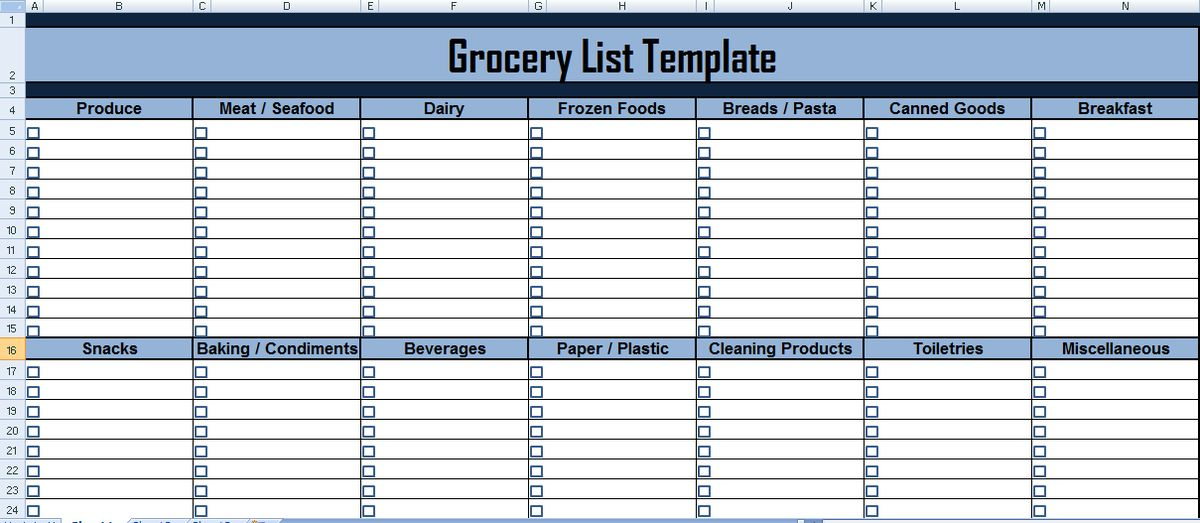 Get Grocery list Template in Excel - Microsoft Excel Templates