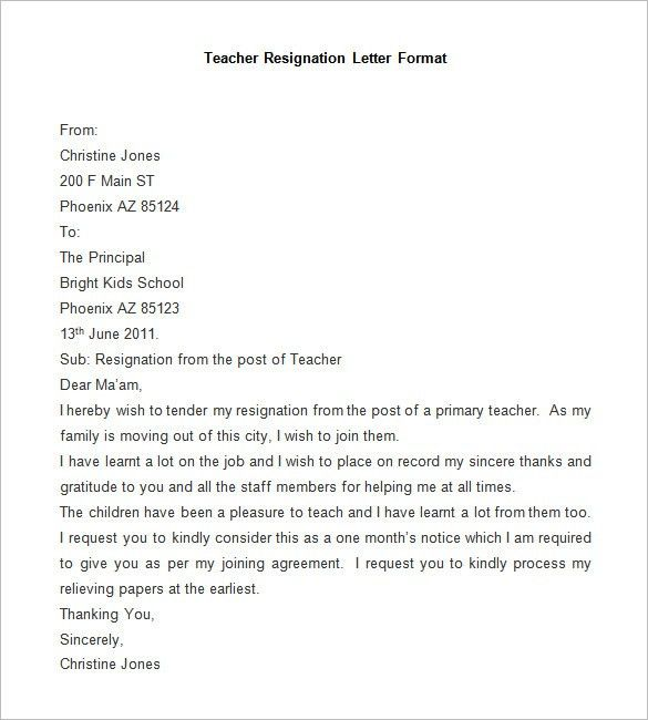 Free Letter Of Resignation Template Resignation Letter Samples ...