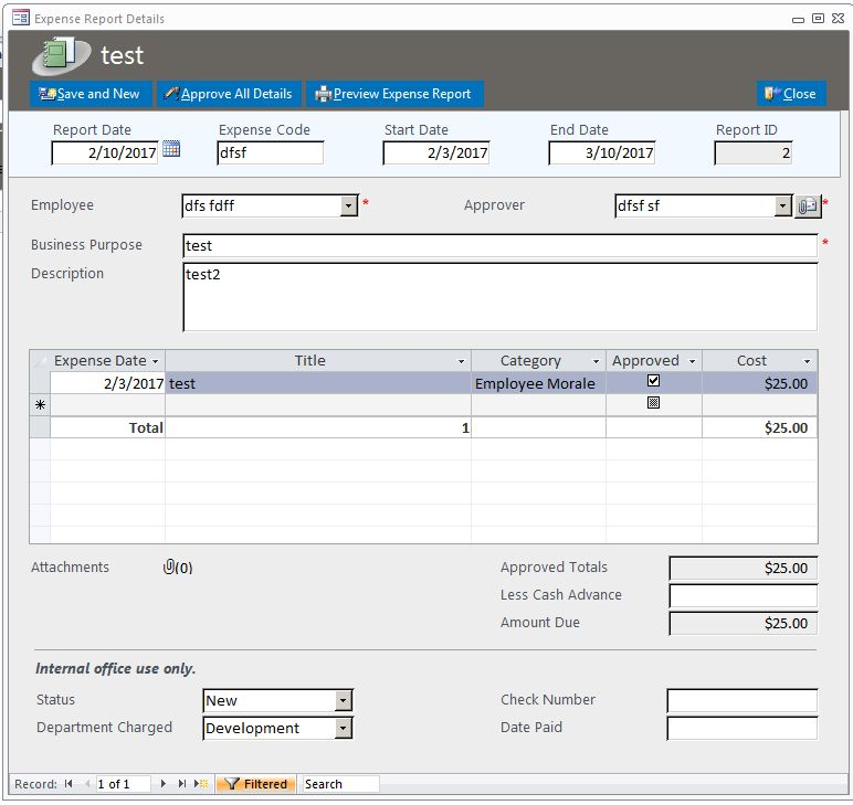 Microsoft Access Expense Reports Database Template