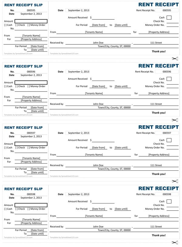 Customizable and printable Rent Receipt Templates to help you save ...