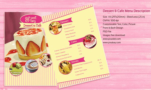 Free PSD Templates Download! Dessert And Cafe Menu Template