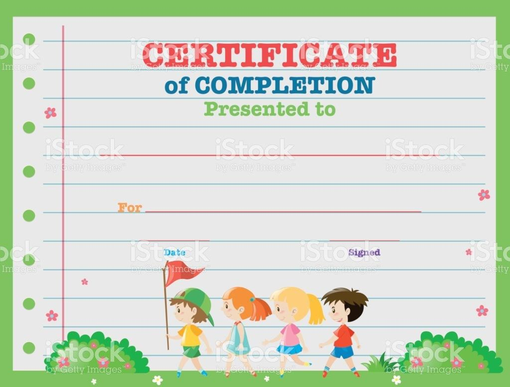 Certificate Template With Kids Walking In The Park stock vector ...