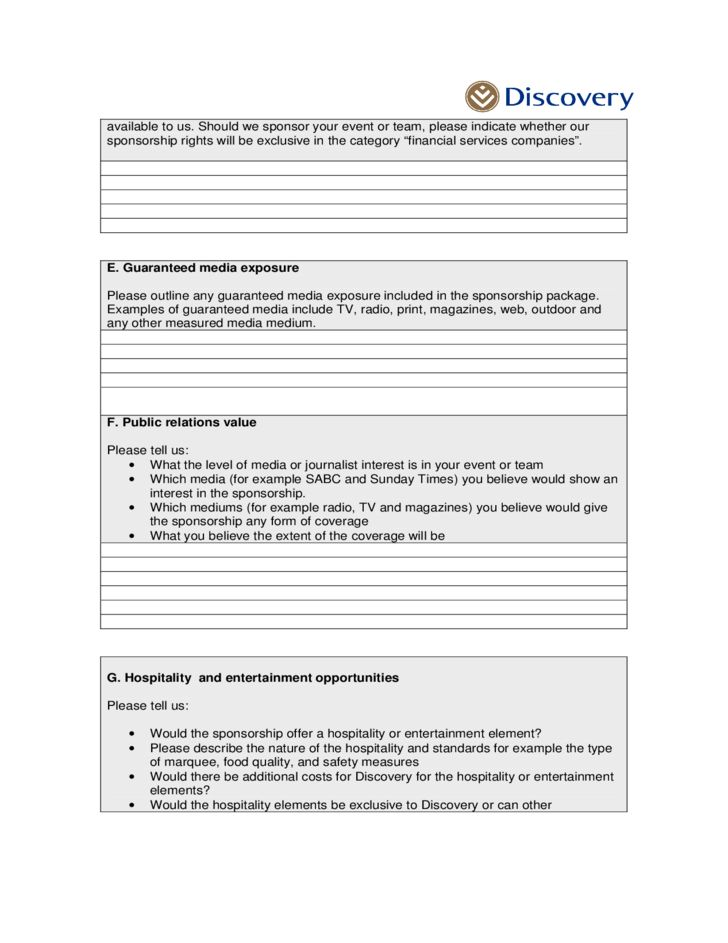 Sponsorship Proposal Letter Free Download