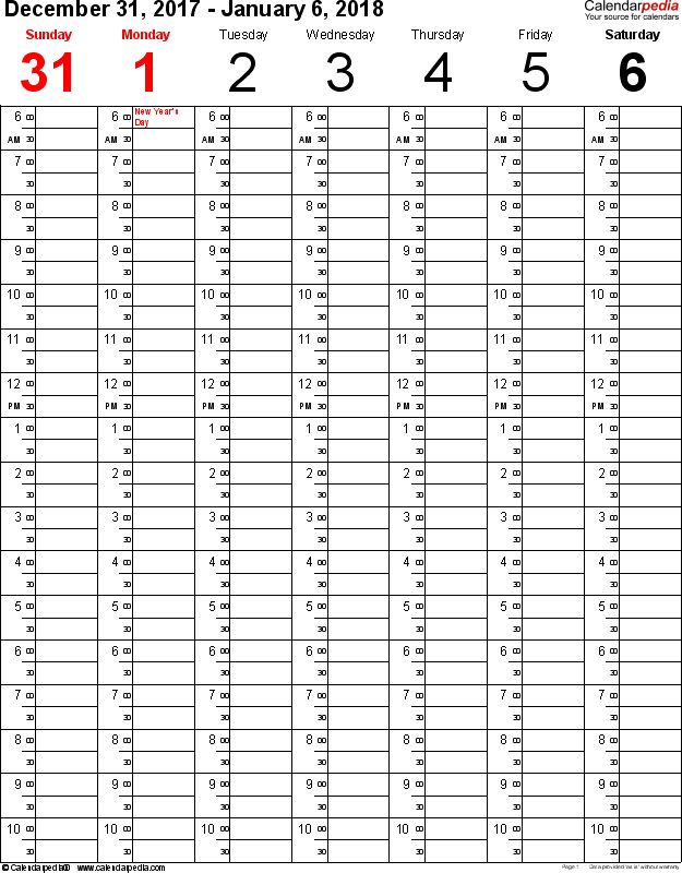 Weekly calendar 2018 for Excel - 12 free printable templates