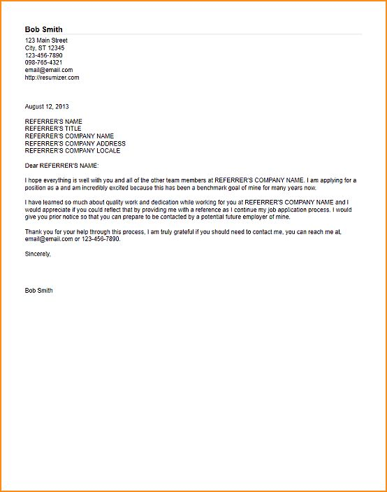 11+ reference letter template - Basic Job Appication Letter