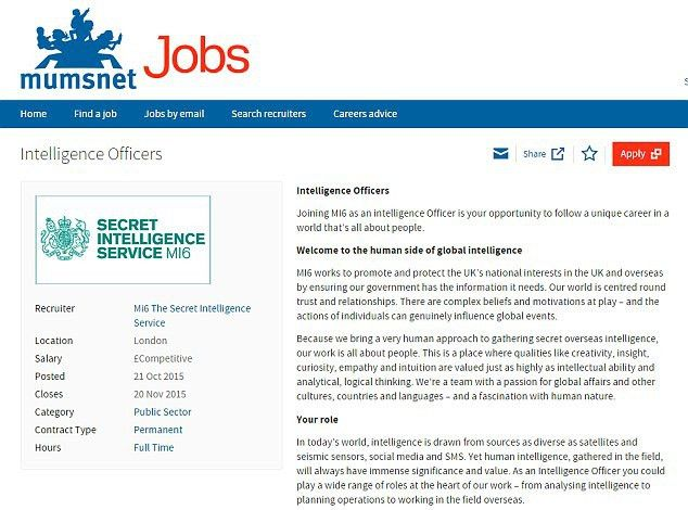 MI6 advertises for new intelligence officers on Mumsnet | Daily ...