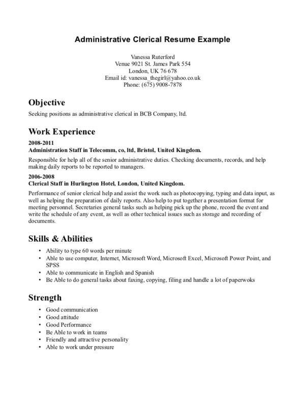 Administrative Clerk Resume Sample Displaying Objective and Work ...