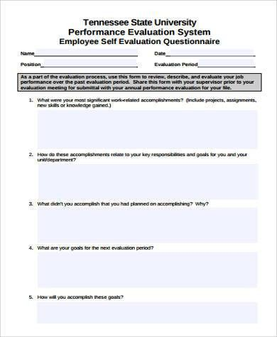 Sample Performance Self-Evaluation Form - 7+ Examples in Word, PDF