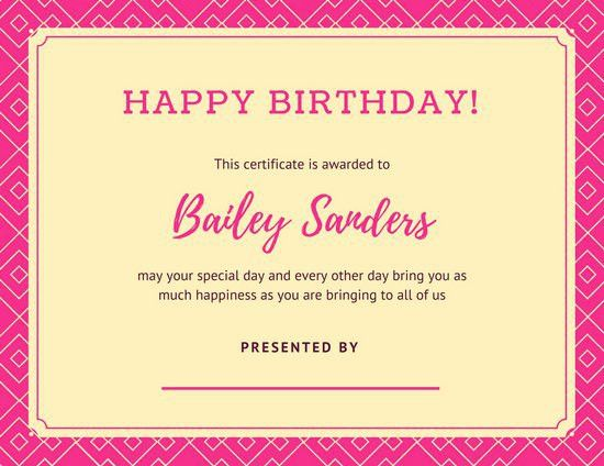 Pink Geometric Pattern Birthday Certificate - Templates by Canva