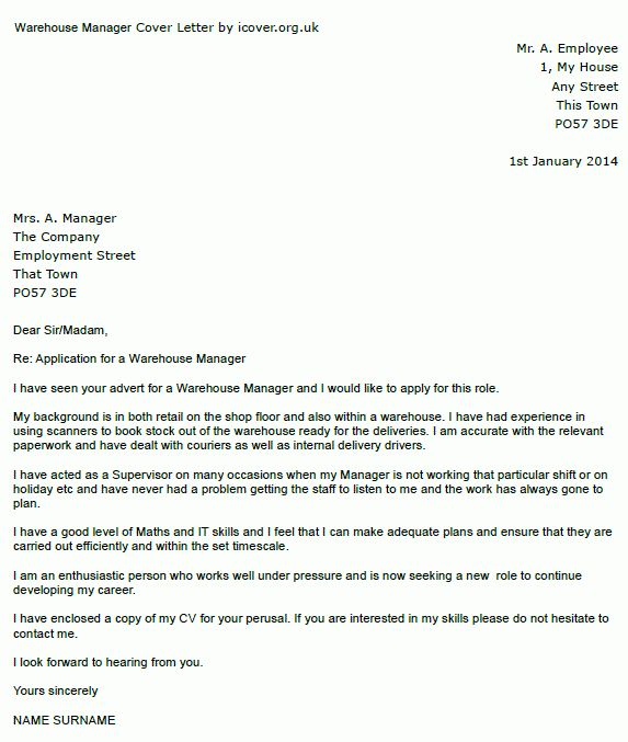 Warehouse Manager Cover Letter Example - icover.org.uk