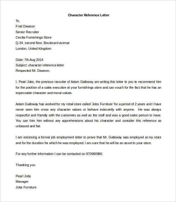 Character Reference Letter For Rental Property Template | Business ...