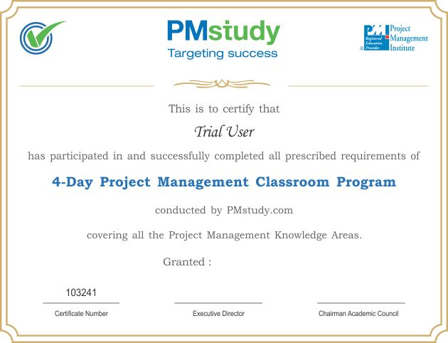 Materials Provided by PMstudy to students Attending PMP Training