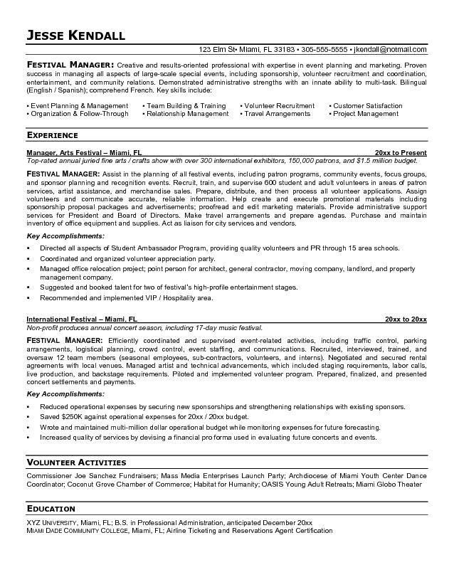 Free Festival Manager Resume Example