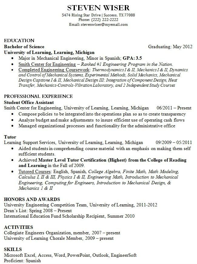 college graduate resume template resume examples for college ...