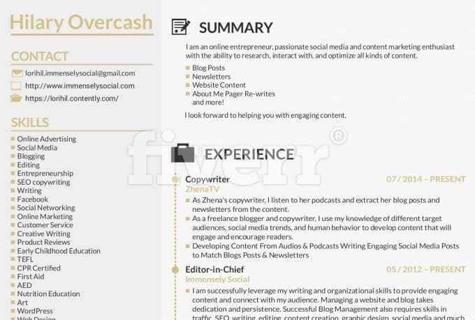 Write resume, design resume,cv,cover letter, resume design by ...