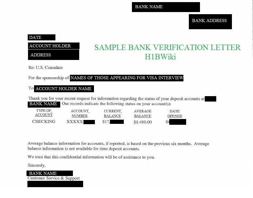 Bank Account Verification Letter - Sample