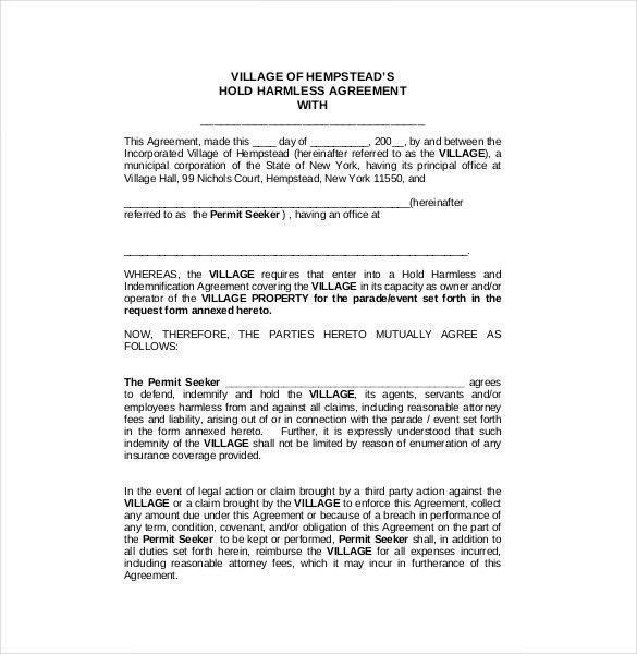 Hold Harmless Agreement Template | Template Design