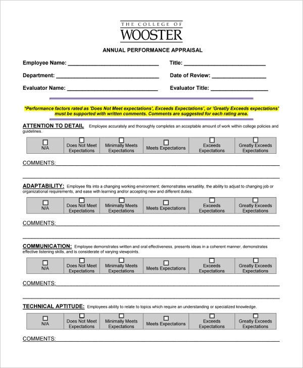 Sample Annual Appraisal Form - 9+ Free Documents in PDF, Doc