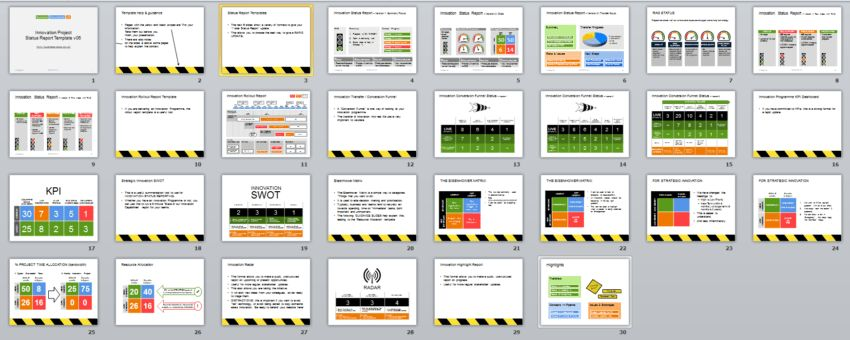Innovation Project Status Report (Powerpoint) 15 formats.