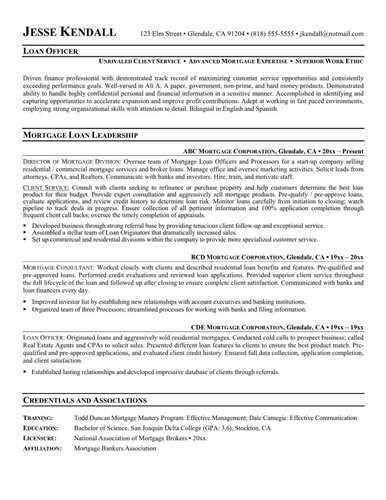 Job Description of Loan Processor Resume