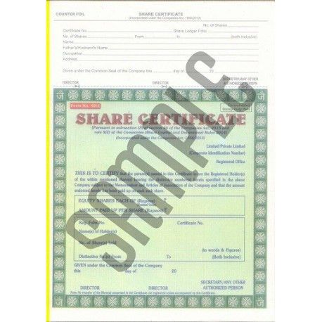 Buy Share Certificates as per the Companies Act, 2013 online