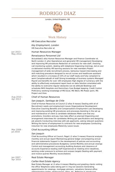Hr Executive Resume samples - VisualCV resume samples database