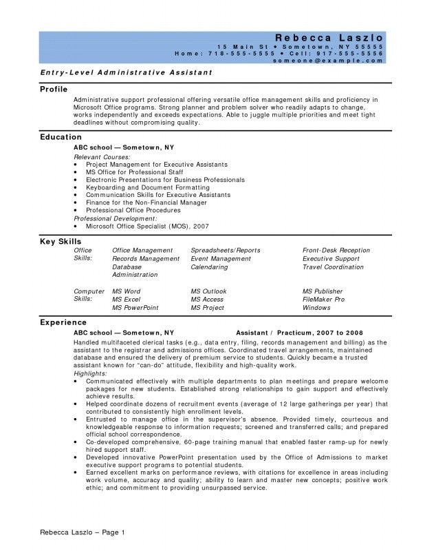 Entry Level Office Assistant Resume | Samples Of Resumes