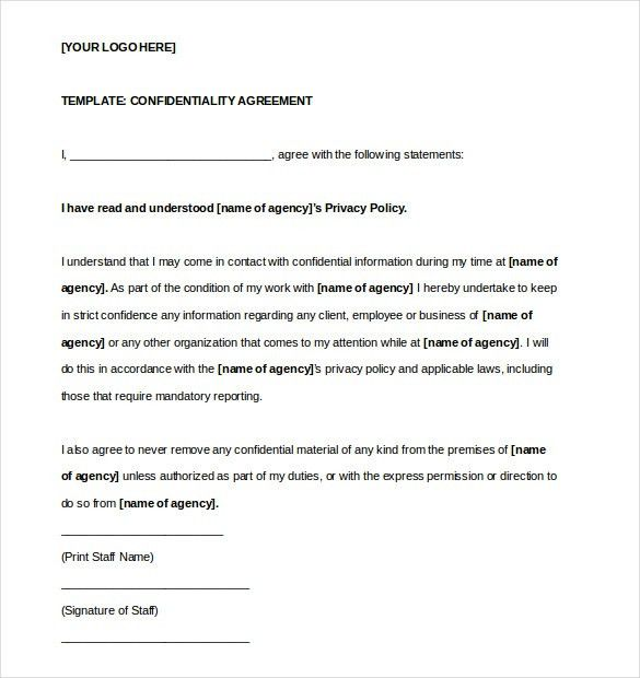 Confidentiality Agreement Template U2013 15+ Free Word, Excel, PDF .