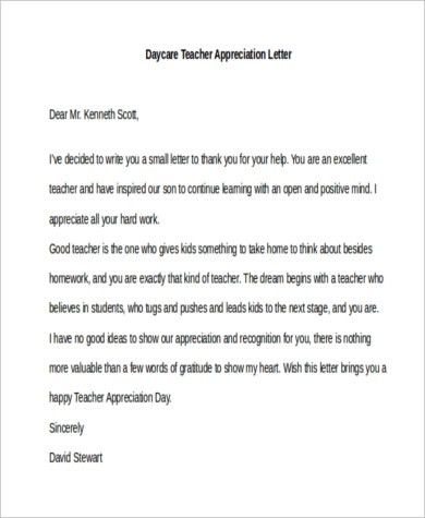 Teacher Appreciation Letters - 7+ Free Documents in Word, PDF