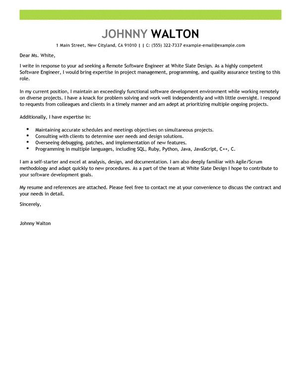 Software Developer Cover Letter Examples