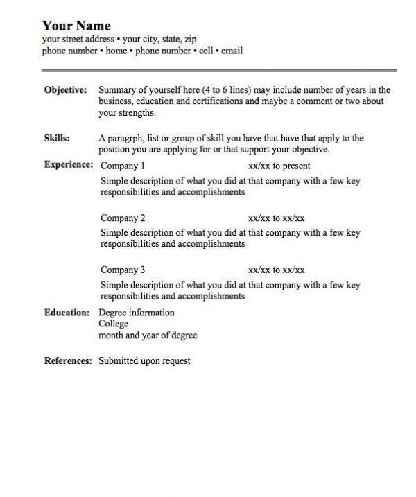 format of a simple resumes