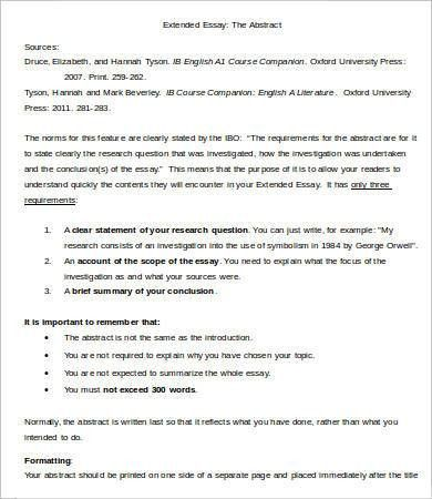 Extended Essay Template - 7+ Free Samples, Examples, Format ...